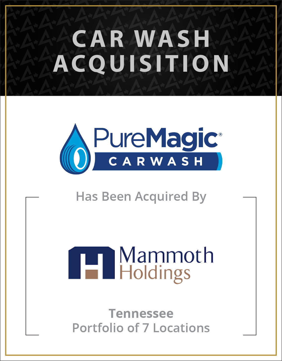 Pure Magic Carwash has been acquired by Mammoth Holdings
