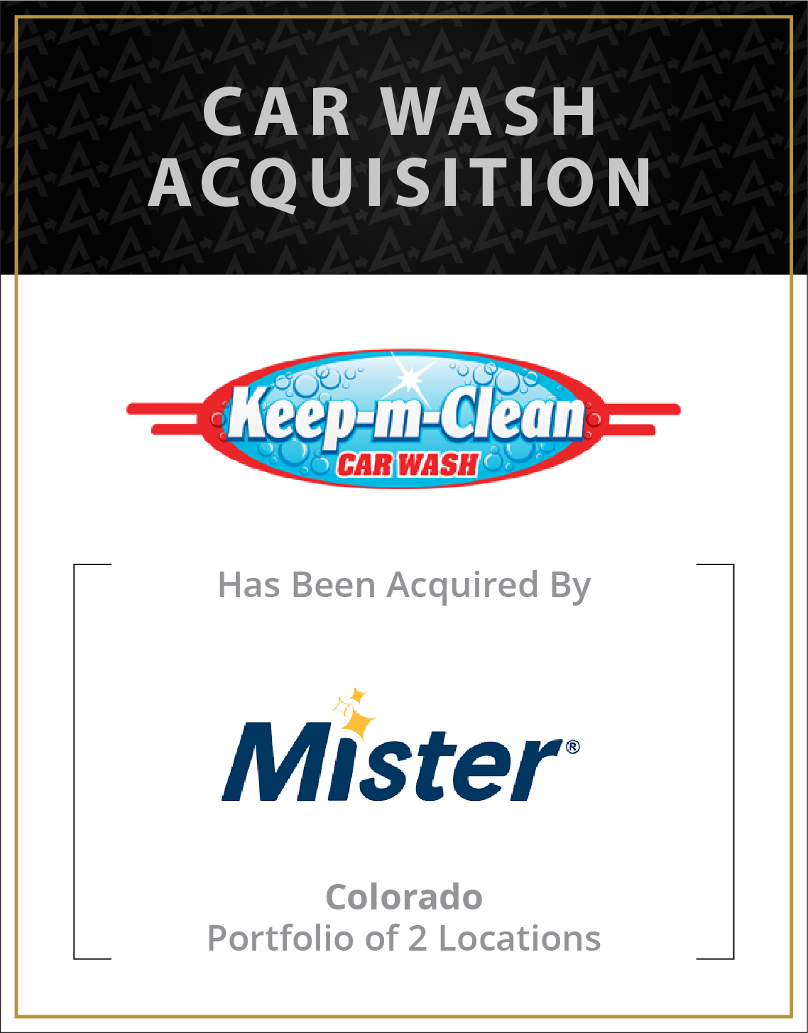 Keep M Clean Car Wash has been acquired by Mister Car Wash